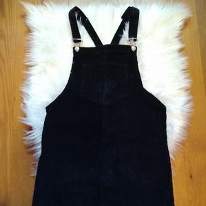 Altar'd State Black Corduroy Overall Dress